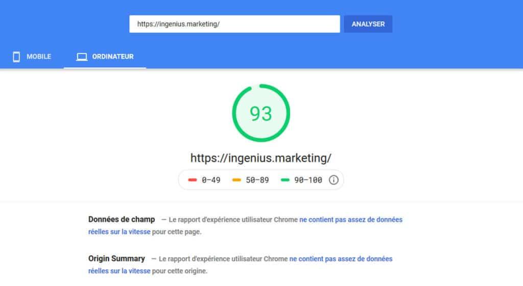 Google page speed du site ingenius